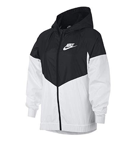 Nike Girls Hooded Windrunner Jacket Black/White BQ6487-011 (Medium)