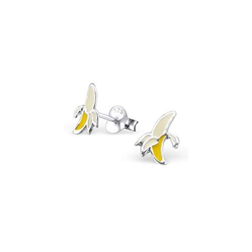 (Liara - Banana Ear Studs With Epoxy Sterling Silver 925. Polished And Nickel Free)