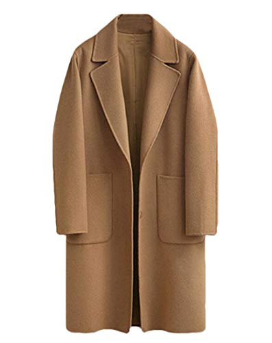 Latest UUYUK Women Plus Size Lapel Pockets Mid Length Cardigan Woolen Blazer Camel US S Camel Wool Blazer 3