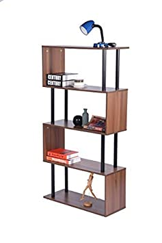 HOMY CASA 4 Tiers Rustic Style Bookshelf Walnut Wood Metal Bookcase Open Storage Shelves,Brown
