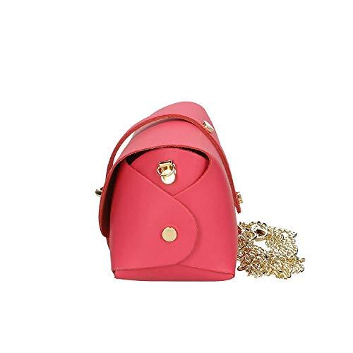 cm donna Borsa a brillante pelle Italy dimensioni 18x11x9 da fucsia made antico in vera tracolla rosa colore in qPHxtrwHd