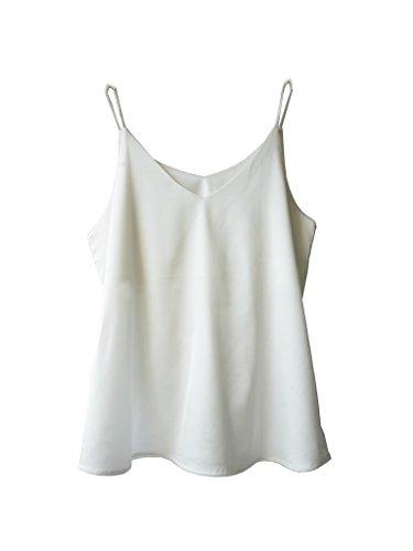 Wantschun Womens Silk Satin Camisole Cami Plain Strappy Vest Top T-Shirt Sleeveless Blouse Tank Shirt V-Neck Spaghetti Strap ()
