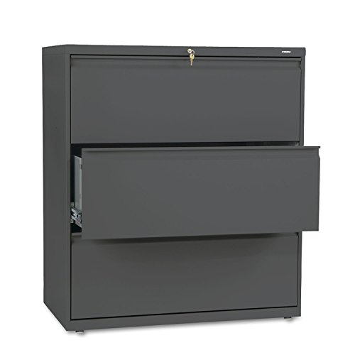 Hon 883LS 800 Series Three-Drawer Lateral File, 36w x 19-1/4d x 40-7/8h, Charcoal