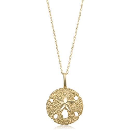 Kooljewelry 14k Yellow Gold Sand Dollar Starfish Pendant Rope Chain Necklace (18 inch) ()