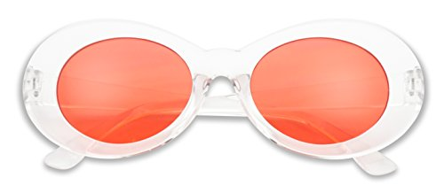 Colorful Oval Kurt Cobain Inspired Clout Goggles Mod Round Pop Fashion Nirvana Sunglasses (Clear, (Goggles Pop)