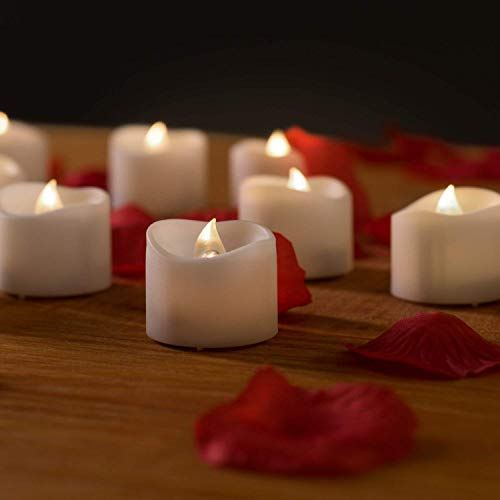Flameless Candles with Timer - Valkit Votive Candles,Battery Operated LED Tea Lights Candles with Flickering Flame Tealights for Wedding, Birthday, Party Decorations, 1.4 x 1.6-Inch, 6 Pieces]()