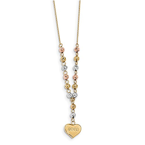 14k Tri-color Gold D/C Beads w/Love Heart Y-Necklace SF2523-18'' by Lex and Lu