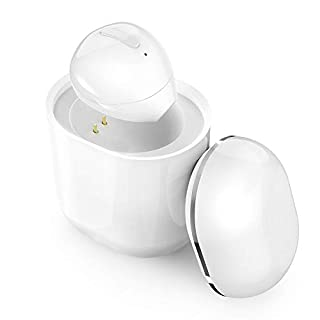 SZHTFX Bluetooth Earbud, Bluetooth 5.0 Wireless Earbud Bluetooth Earpiece Invisible Earphone Car Headset with 260mAh Charging Box Enhanced Comfort - Single Earbud (White)