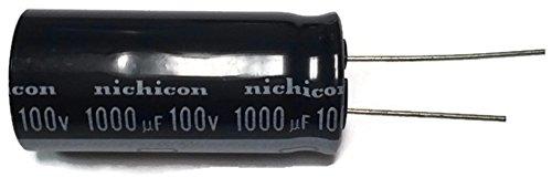 - Set of 1, 105°C Electrolytic Capacitor 1000uF 100V (1000 mfd 100V) 20% Radial, 11/16