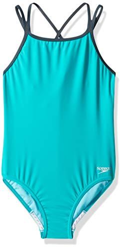 (Speedo Crossback Onepiece Swimsuit (7-16), New Turquoise, 12 )