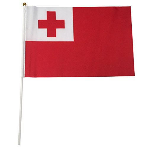Tonga Polyester Country Flags Desk Outside Waving Parade 12-pack Hand or 12 inch x 18 inch Grommet (12-Pack Hand Flag)