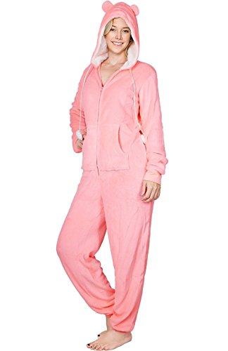 Fleece Playsuit (SofiePJ Women's Printed Fleece Zip Up Onesie Pajamas Playsuit Pink Bear Pink L)