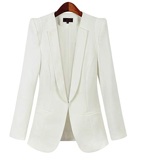 JHVYF Women's Casual Basic Work Jacket Open Front Office Solid Color Blazer Suit White US12 ()
