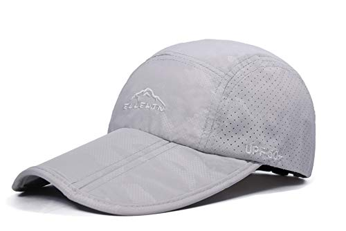 - ELLEWIN Baseball Cap Quick Dry Travel Hats UPF50+ Cooling Portable Sun Hats for Sports Golf Running Fishing Outdoor Research with Foldable Long Large Bill, C-light Grey, M-L-XL