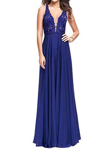 Abendkleider Ballkleider Promkleider Festlichkleider Blau Braut La V Spitze Elegant Partykleider Ausschnitt Lang Royal 2018 mia Neu xBx4wn0qF