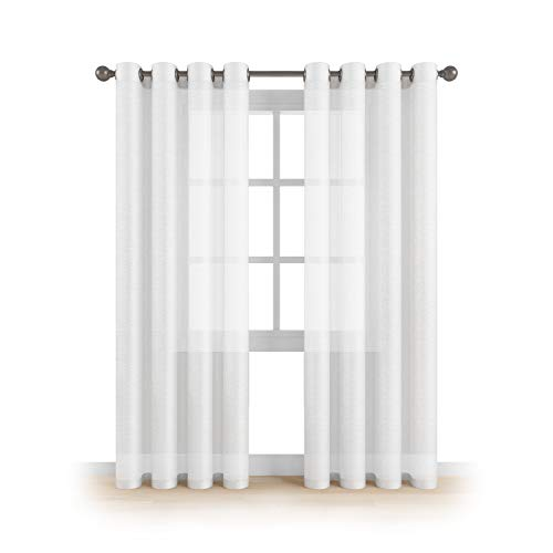 """MEMIAS Grommet Semi Sheer Luxury 2 Panels Total Wide 108"""" (Each Curtain 54""""Wx84""""L) Window Home Decor and Upscale Design Light Penetrating & Privacy Soft Durable Polyester Easy Upk. Brilliant White (Polyester Curtains Sheer Panel)"""