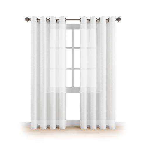 (MEMIAS Grommet Semi Sheer Luxury 2 Panels Total Wide 108