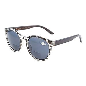 Eyekepper Quality Spring Hinges Wood Temples Oval Round Bifocal Sunglasses Women Grey Tortoise +1.75
