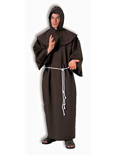 Forum Deluxe Hooded Monk Costume Robe, Brown,