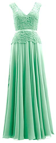 Women Mother Dress Evening Chiffon Mint V Formal Lace Macloth Bride Neck The Of Gown 1wdqCRZZ