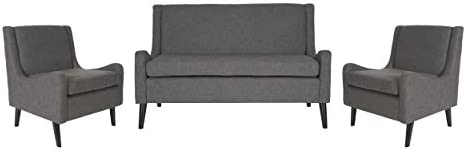 Christopher Knight Home Nash Contemporary Loveseat Chat Set, Dark Gray