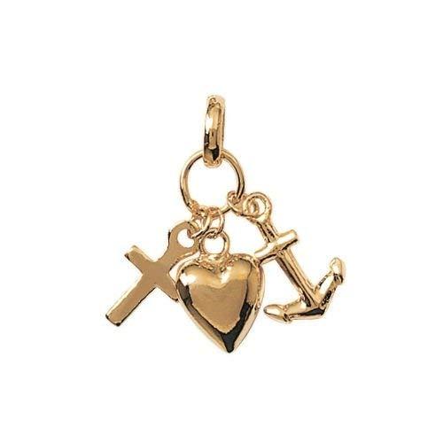 Colgante con chapado en oro-totalmente los 3: moldes en forma de corazón, diseño de cruz y ancla:-joyas para mujer mixto infantil para niño: Amazon.es: ...