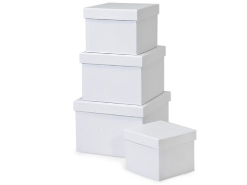 Nested Gift Boxes with Lids, Pure White, Set/4 by Rustic Pearl Collection