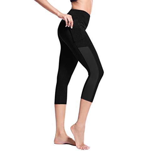 Sttech1 Yoga Pants for Women High Waisted Butt Lift Soft Athletic Workout Leggings with Pockets Black