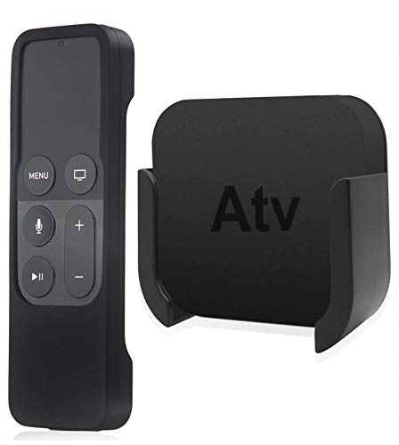 TV Mount Compatible Apple TV 4K 4th Generation, Auswaur Wall Mount Bracket Holder Compatible with Apple TV 4th and 4K with Black Silicone Siri Remote Control Protection Case