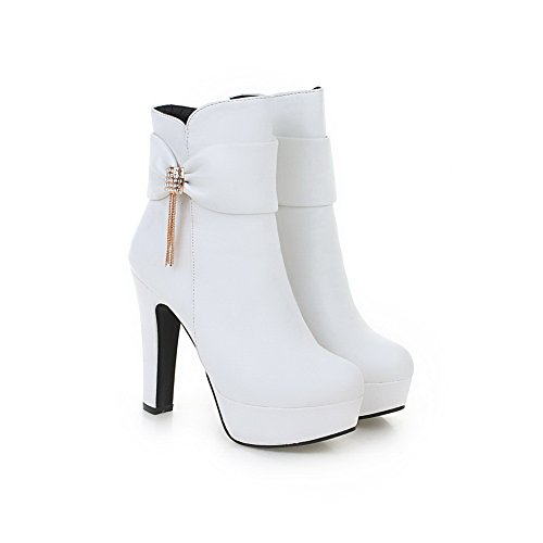 1TO9 Ladies Metal Chain Platform Spun Gold Bowknot Imitated Leather Boots White BgXFxC5