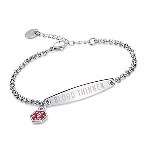 linnalove-Pre-Engraved Simple Rolo Chain Medical id Bracelet for Women & Girl-Blood THINNER ()