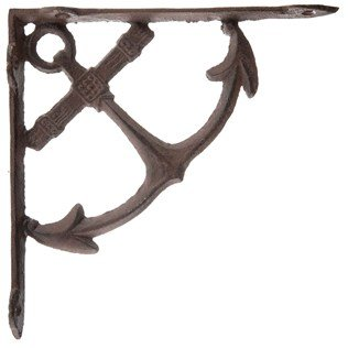 Aunt Chris' Products - Heavy Cast Iron - All-Purpose - Thin Anchor Shelf Bracket - Bronze Rustic Color Finish - Nautical Design - Indoor or Outdoor Use - Bronze Finish Outdoor Bracket