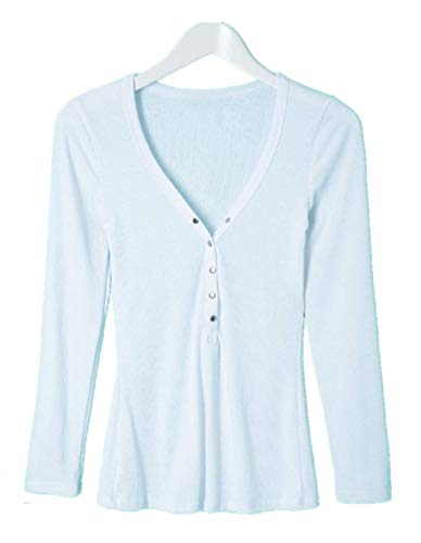 Kcatsy Womens Stylish V-Neck Long Sleeve Button Design Solid Color Women's Blouse ()