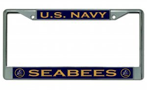 U.S. Navy Seabees Chrome License Plate Frame by License Plates Online