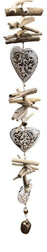 Nickanny's Wooden White Washed 3 Floral Hearts with Stones and Glass Beads 40 in Long Wind Chime with Wood Pieces