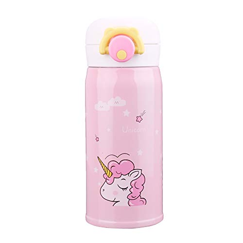 Kids Water Bottle Thermoses Unicorn Water Bottle Cup Metal Stainless Steel Vacuum Insulated Water Flask for School Kids Girls Lunch Box Leak Proof BPA Free No Straw - 12oz (Pink)