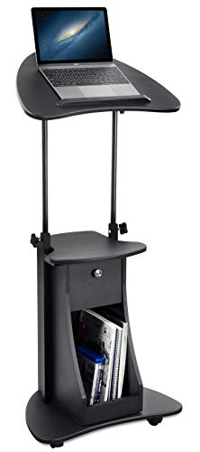 Non Tilt Stand - Mount-It! Standing Height Laptop Cart with Storage, Mobile Laptop Workstation, Height Adjustable Rolling Laptop Stand (MI-7947)