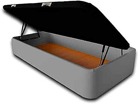 Ventadecolchones - Canapé Modelo Serena Gran Capacidad Apertura Lateral tapizado en Polipiel Gris Medidas 90 x 190 cm con Tapa en Tejido 3D con Subida a Domicilio incluida