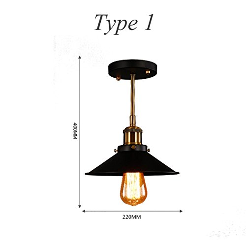 - Hitommy Retro Industrial E27 Wall Sconce Light Vintage Hang Pendant Ceiling Lamp - 1
