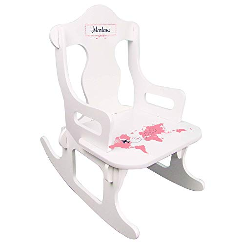 MyBambino Personalized World Map Pink Puzzle Rocker for Baby Nursery Early Education Baby Gift