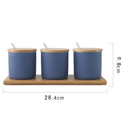 - 3pcs/lot Nordic Solid Color Ceramic Seasoning Jar Bamboo Cover Sugar Container Spice Bottles Oil Salt Cans Kitchen Accessories