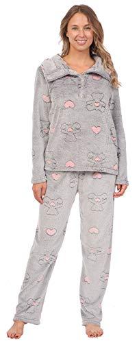 Patricia Women's Soft Minky Polar Fleece 2 Piece Pajama Sets (Teddy Bear Print, Large)