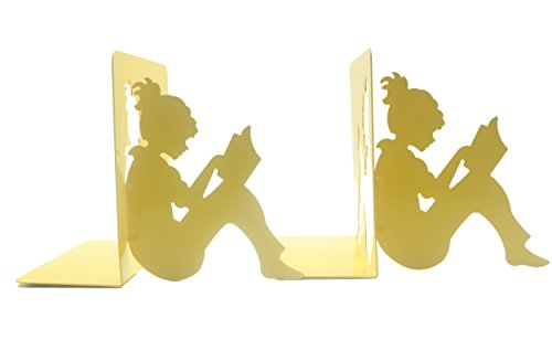 Y-H 3D Paper-cut Little Girl Is Reading Metal Bookends Book Ends For Kids Teachers Students Study Gift School Library Home Desk Office Decoration (yellow) by YIHUI (Image #2)