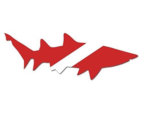 Shark Shaped Scuba Dive Flag Sticker Diving Decal - Sticker Graphic - Auto, Wall, Laptop, Cell Auto, Wall, Laptop, Cell Phone, Notebook, Bumper, Window, (Dive Flag Shark Sticker)