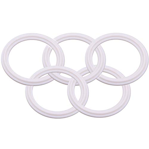 (Dernord Teflon (PTFE) Tri-Clamp Gasket O-Ring - 2 inch Style Fits OD 64MM Sanitary Pipe Weld Ferrule (Pack of 5))