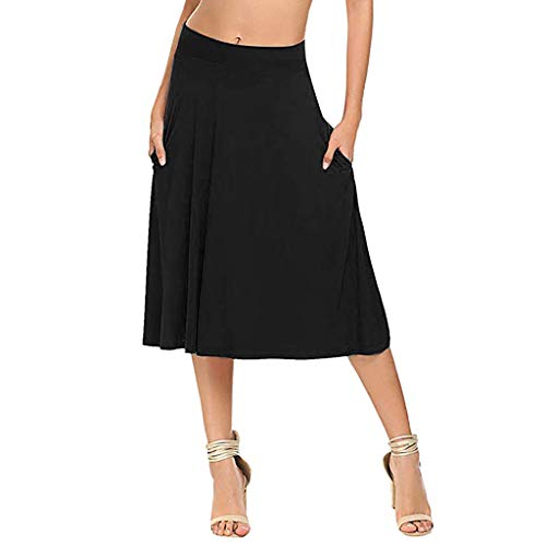 (RIUDA Women Basic Solid Stretch Elastic High Waist Shirring Flare Pockets A Line Skirts Black)