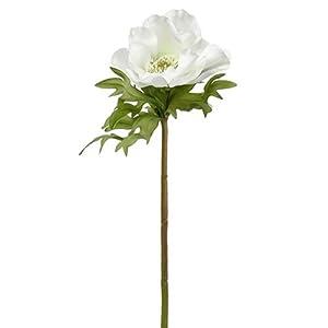 "17.5"" Anemone Silk Flower Stem -White (Pack of 12) 48"
