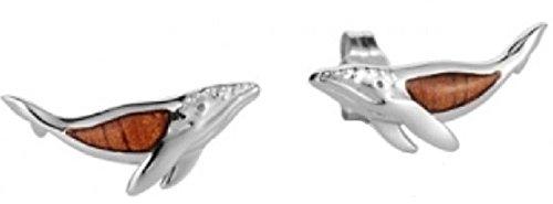 Sterling Silver Koa Wood Humpback Whale Stud Earrings