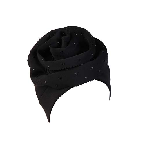 YEZIJIN Fashion Women Floral Beading Keep Warm Solid Hat Beanie Turban Head Wrap Cap