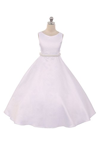 Pearls Flower Girl Communion Dress (Long Satin First Communion Dress and Flower Girl Dress - Classic Pearl Trim Dress - Size 16,)
